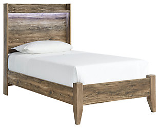 Rusthaven Twin Panel Bed, Brown, large