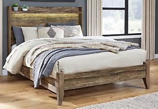 Rusthaven Queen Panel Bed, Brown, rollover