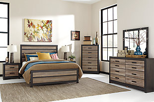 Harlinton Queen Panel Bed with Dresser Mirror and Nightstand, Warm Gray/Charcoal, rollover