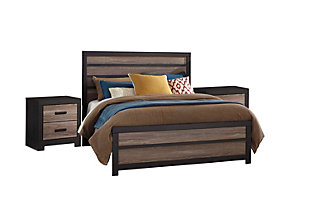 Harlinton Queen Panel Bed with 2 Nightstands, , large