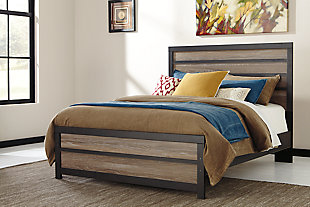 Harlinton Queen Panel Bed, Warm Gray/Charcoal, rollover
