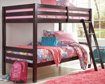 Halanton Twin over Twin Bunk Bed with Ladder, Dark Brown