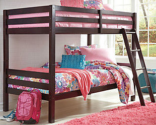 Halanton Twin over Twin Bunk Bed with Ladder, Dark Brown, rollover