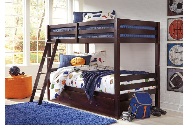 Halanton Twin over Twin Bunk Bed with 1 Large Storage Drawer, , large