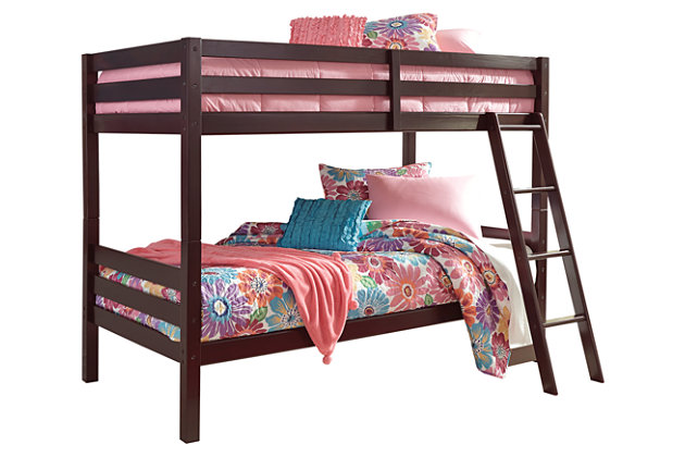Halanton Twin over Twin Bunk Bed with Ladder, Dark Brown, large