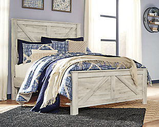 Bellaby Queen Crossbuck Panel Bed, Whitewash, rollover