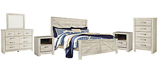 Bellaby King Crossbuck Panel Bed with Mirrored Dresser, Chest and 2 Nightstands, Whitewash, rollover