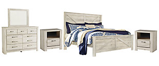 Bellaby King Crossbuck Panel Bed with Mirrored Dresser and 2 Nightstands, Whitewash, rollover