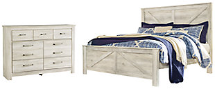 Bellaby King Crossbuck Panel Bed with Dresser, , large