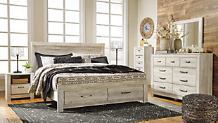 Bellaby King Platform Bed with Storage, Whitewash, rollover