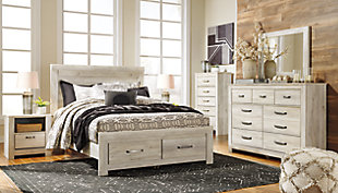 Bellaby Queen Platform Bed with 2 Storage Drawers, Whitewash, rollover