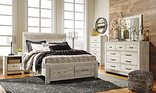 Bellaby Queen Platform Bed with Storage, Whitewash, rollover