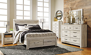 Bellaby Queen Platform Bed with 2 Storage Drawers, Whitewash, large