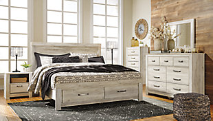 Bellaby King Platform Bed with Storage, Whitewash, large