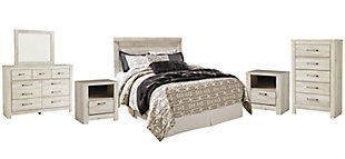 Bellaby Queen Panel Headboard Bed with Mirrored Dresser, Chest and 2 Nightstands, Whitewash, rollover