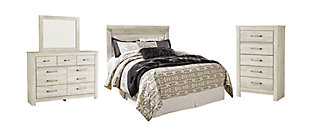Bellaby Queen Panel Headboard Bed with Mirrored Dresser and Chest, Whitewash, rollover