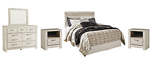 Bellaby Queen Panel Headboard Bed with Mirrored Dresser and 2 Nightstands, Whitewash, rollover