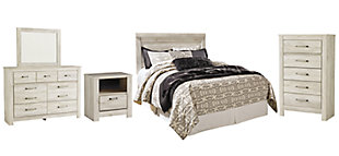 Bellaby Queen Panel Headboard Bed with Mirrored Dresser, Chest and Nightstand, Whitewash, rollover