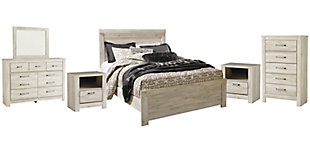 Bellaby Queen Panel Bed with Mirrored Dresser, Chest and 2 Nightstands, Whitewash, rollover