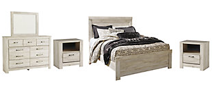 Bellaby Queen Panel Bed with Mirrored Dresser, Whitewash, large