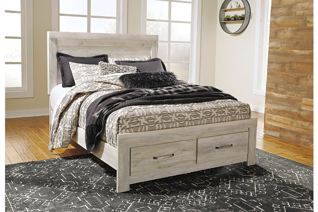 Bellaby Queen Platform Bed With Storage, Whitewash, Large ...