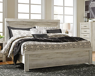 Bellaby King Panel Bed, Whitewash, rollover