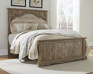 Shellington Queen Mansion Panel Bed, Caramel, large