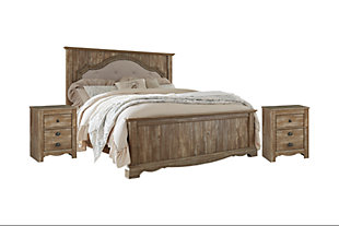Shellington King Bed with 2 Nightstands, Caramel, large