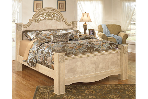 Sizeable beige king poster bed adorned with intricate Old World style  molding and appliquesSaveaha Queen Poster Bed   Ashley Furniture HomeStore. Ashley Furniture King Bedroom Suite. Home Design Ideas