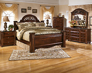 Gabriela King Poster Bed, Dark Reddish Brown, large