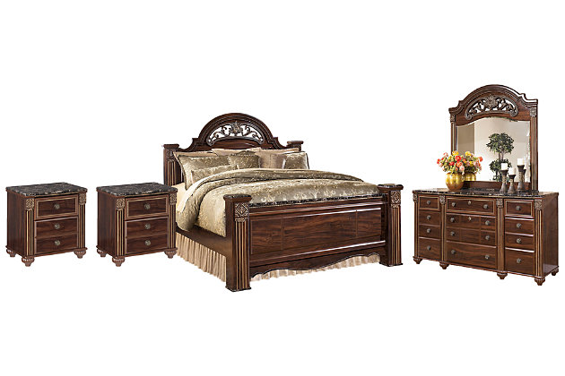 Gabriela Queen Poster Bed With Mirrored, Gabriela Queen Poster Bed
