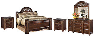 Gabriela Queen Poster Bed with Mirrored Dresser and 2 Nightstands, , large
