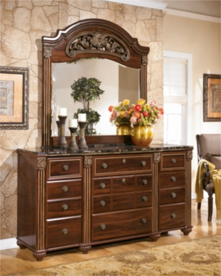 Mirror Dark Reddish Brown Dresser Product Photo 779