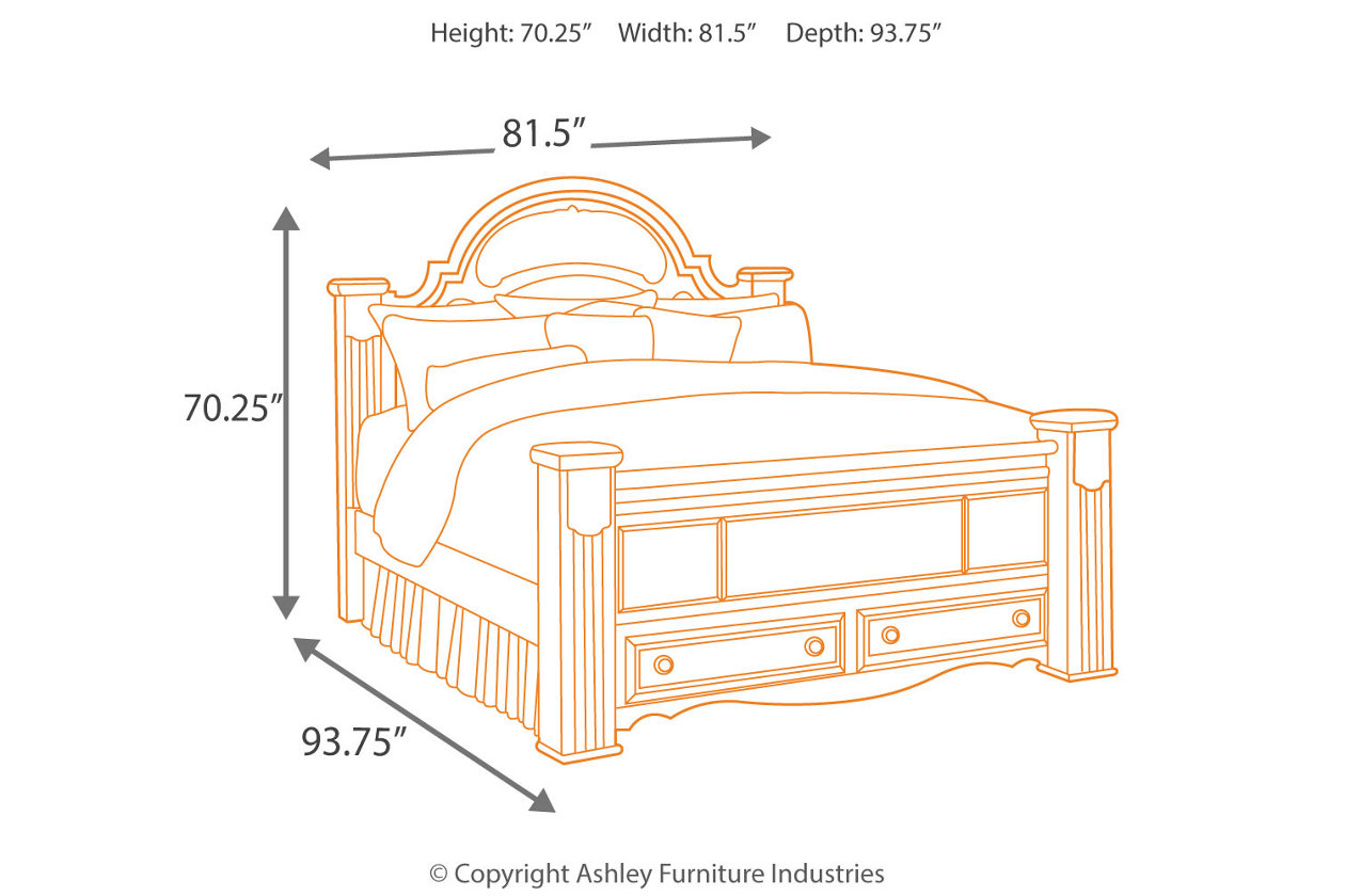 Gabriela King Poster Bed with Storage | Ashley Furniture HomeStore