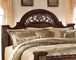 Gabriela Queen Poster Headboard, Dark Reddish Brown, rollover