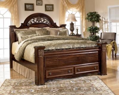 Gabriela King Poster Bed with 2 Storage Drawers, Dark Reddish Brown, large