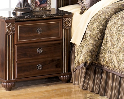 Unique Dark Reddish Brown Nightstand Product Photo