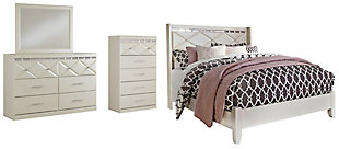 Dreamur Queen Panel Bed with Mirrored Dresser and Chest, , large