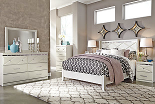 Dreamur Queen Panel Bed with Mirrored Dresser and Chest, , rollover