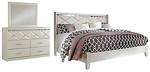 Dreamur King Panel Bed with Mirrored Dresser, , large
