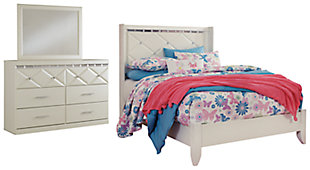 Dreamur Full Panel Bed with Mirrored Dresser, , large