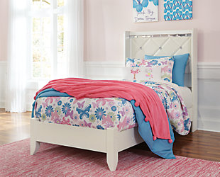 Dreamur Twin Panel Bed, Champagne, rollover