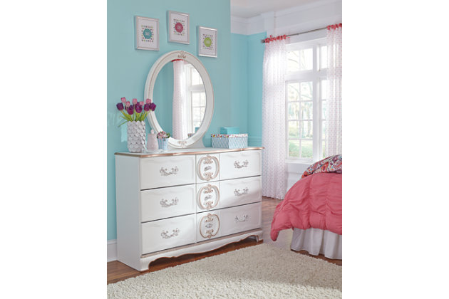 French Inspired Details On This White Dresser And Mirror. Bedroom Furniture  ...