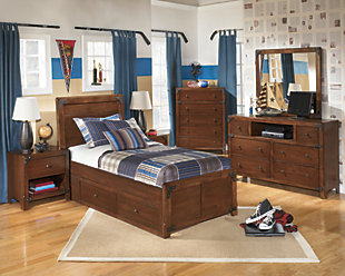 Delburne Twin Panel Bed with Storage, Medium Brown, large