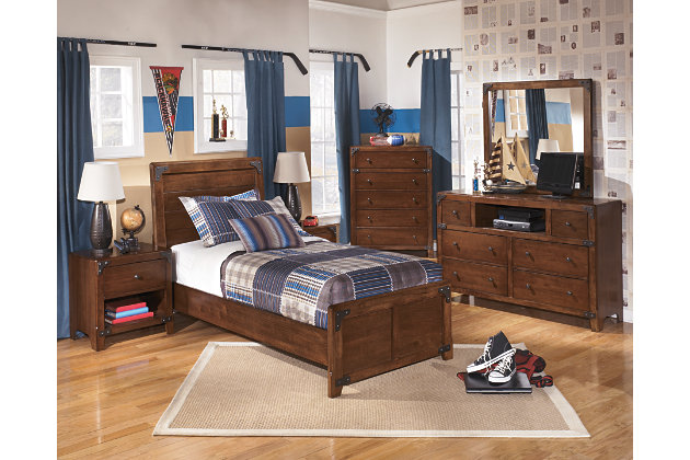 Delburne Twin Panel Bed, Medium Brown, large