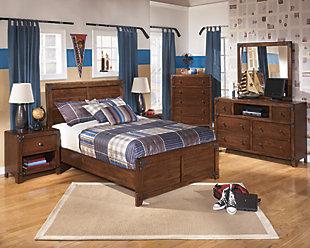 Delburne Full Panel Bed, Medium Brown, large