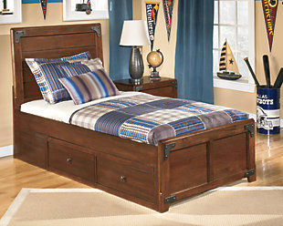 Delburne Twin Panel Bed with Storage, Medium Brown, rollover