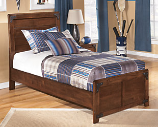 Delburne Twin Panel Bed, Medium Brown, rollover