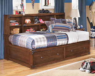 Delburne Twin Bookcase Bed, Medium Brown, rollover