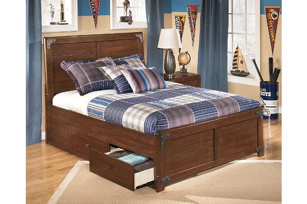 Delburne Full Panel Bed with Storage, Medium Brown, large